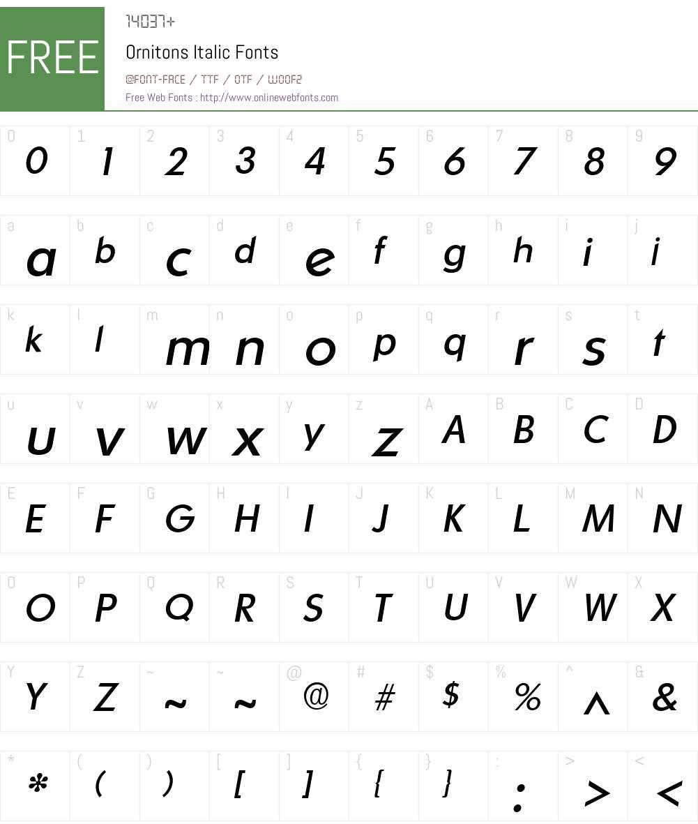 Ornitons Font Screenshots