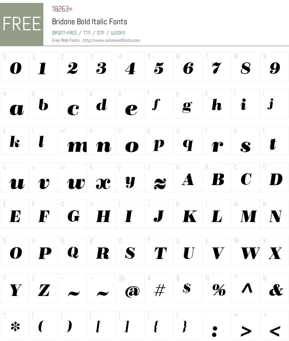 Bridone-BoldItalic Font Screenshots