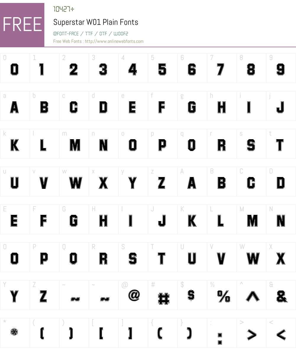 SuperstarW01-Plain Font Screenshots