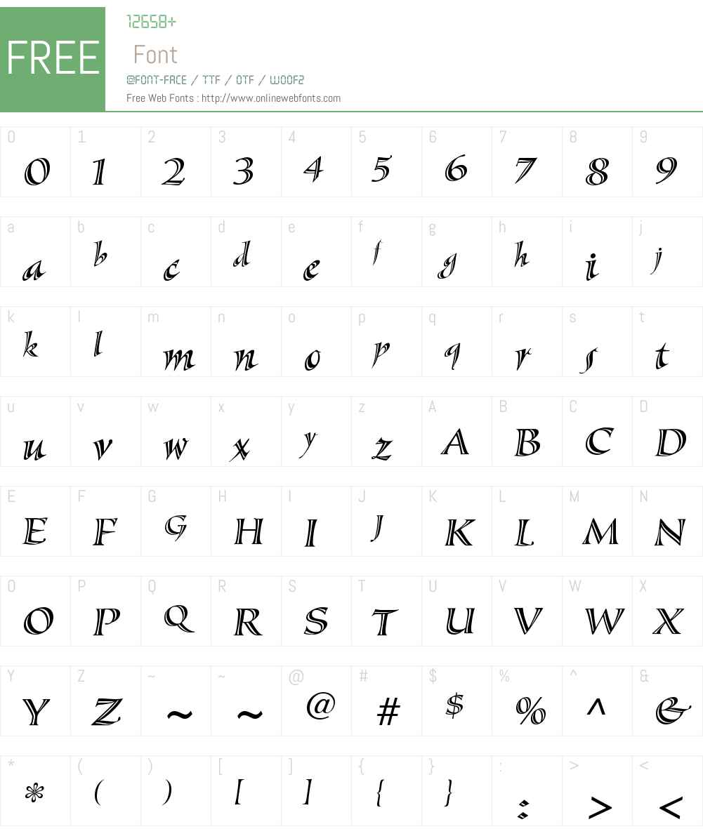 SassafrasW01-Italic Font Screenshots