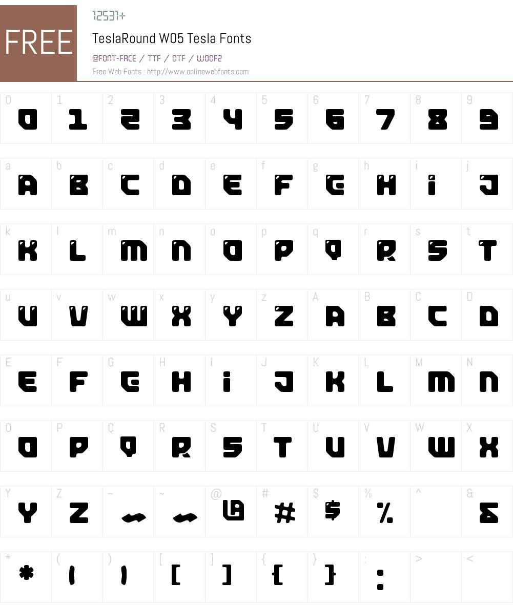 TeslaRoundW05-Tesla Font Screenshots