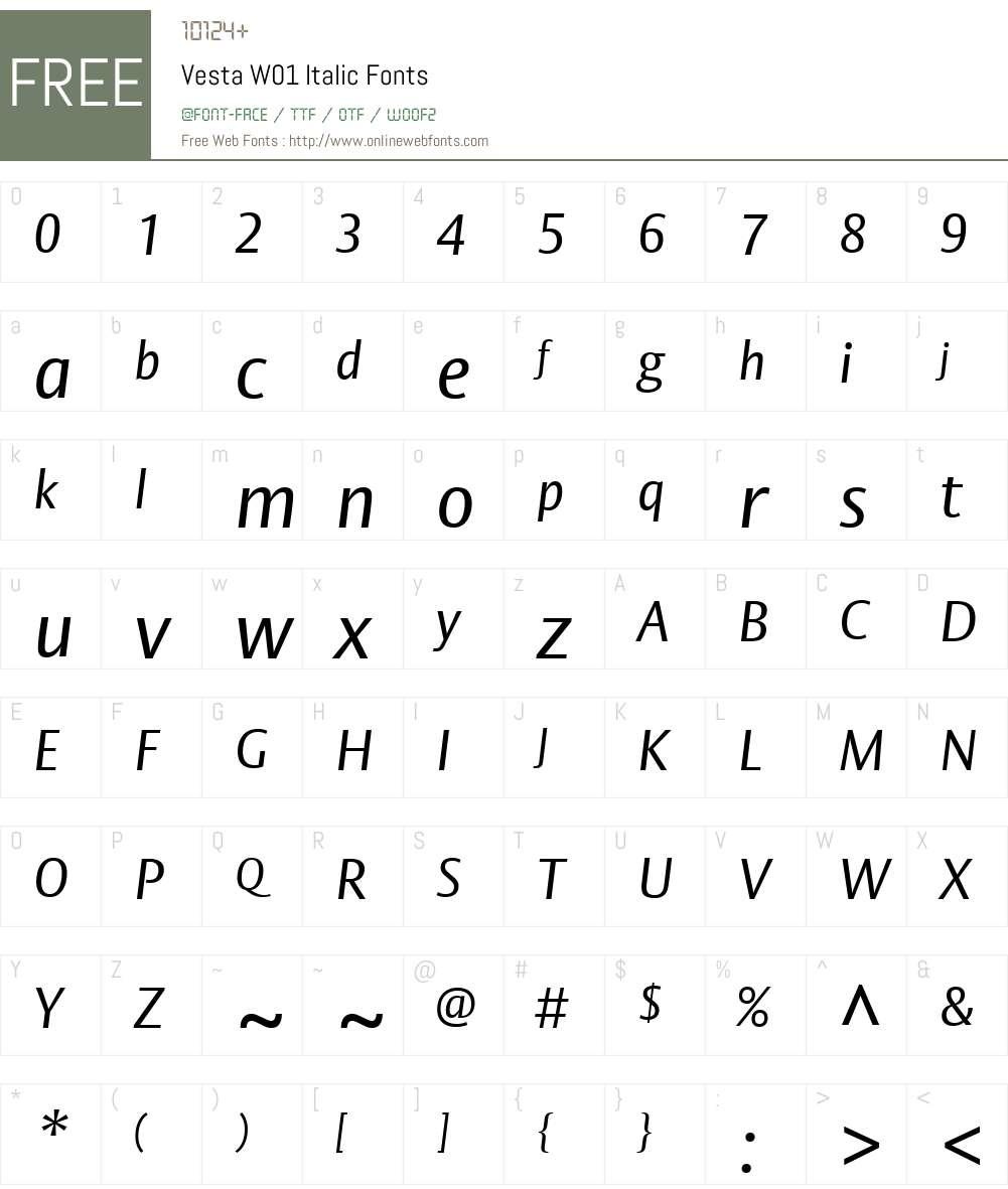 VestaW01-Italic Font Screenshots
