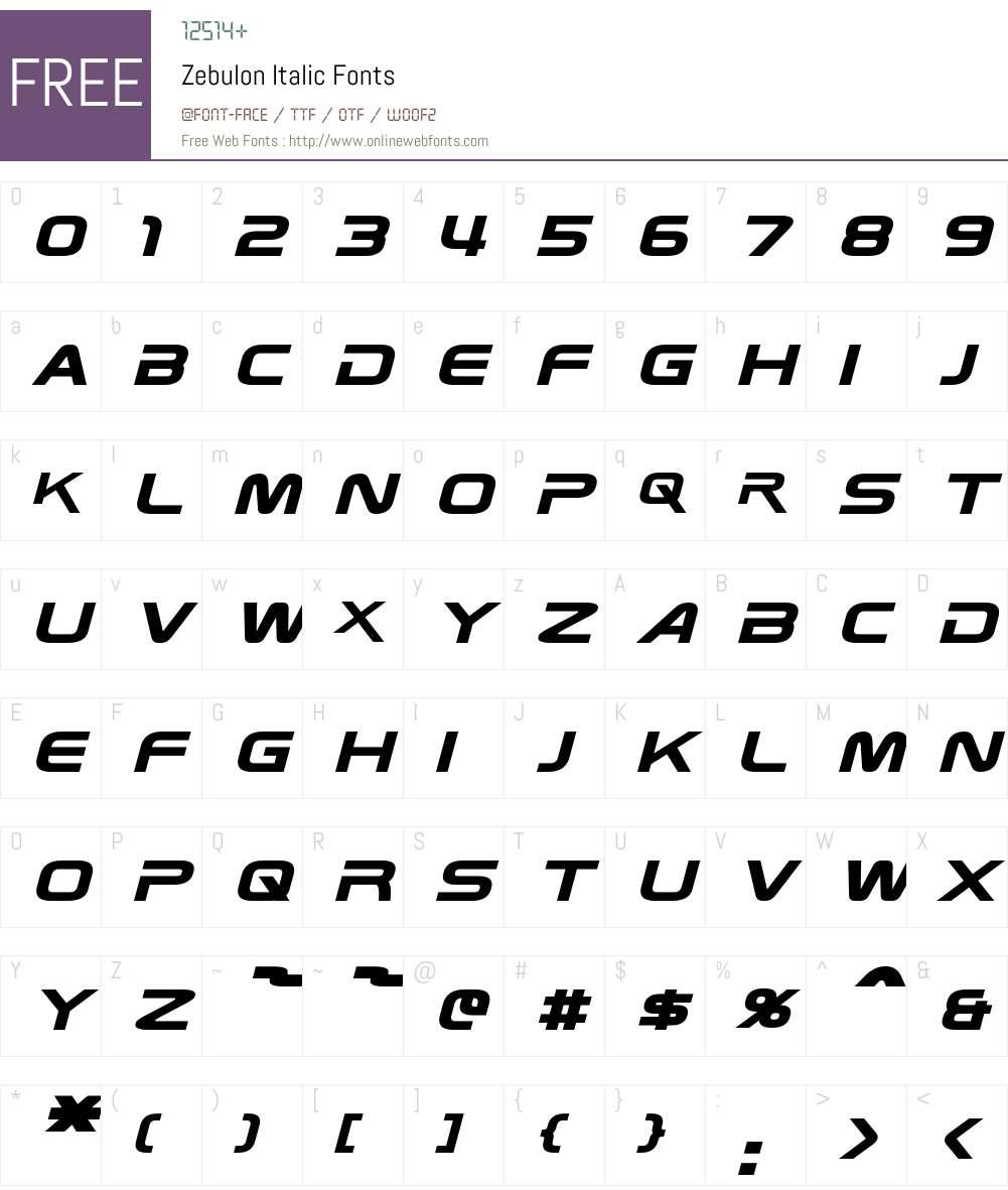 Zebulon Font Screenshots