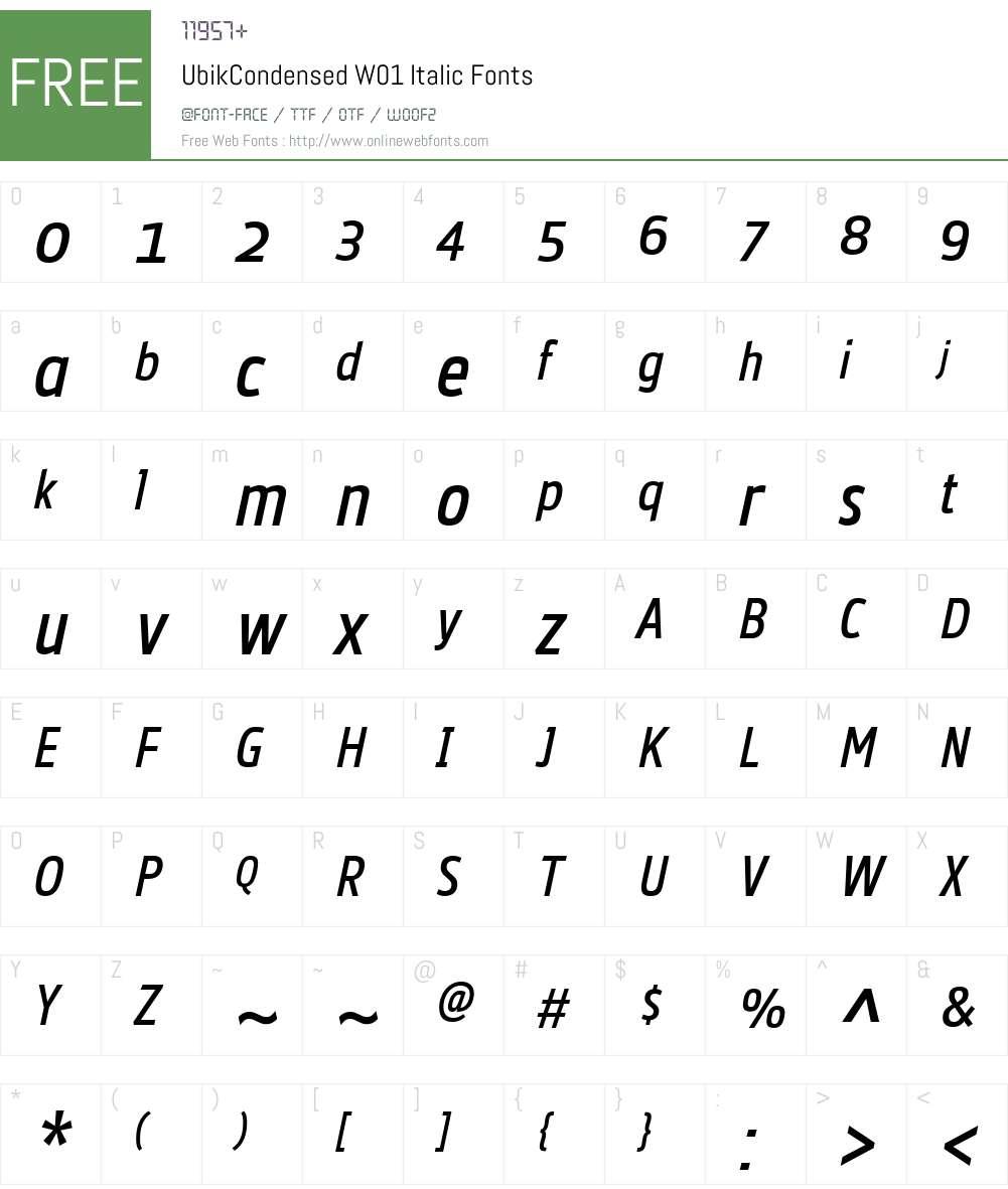 UbikCondensedW01-Italic Font Screenshots