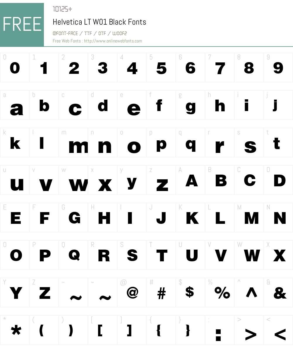 HelveticaLTW01-Black Font Screenshots