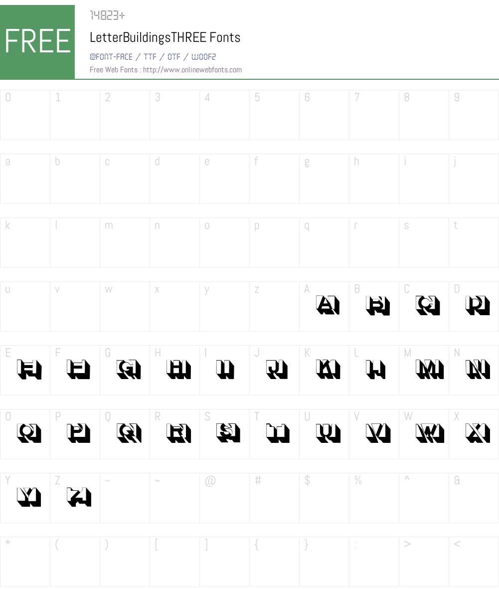 LetterBuildingsTHREE Font Screenshots