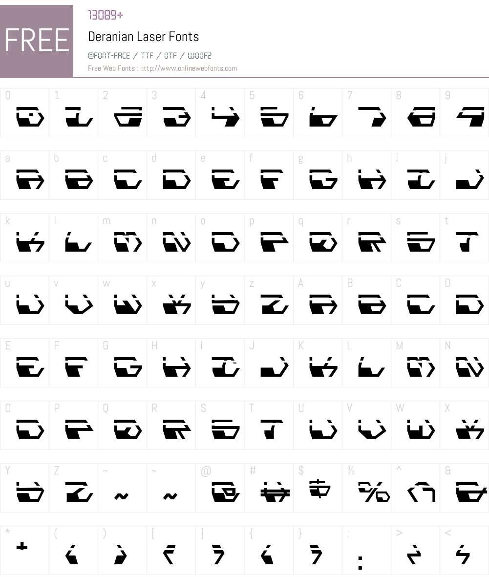 Deranian Laser Font Screenshots