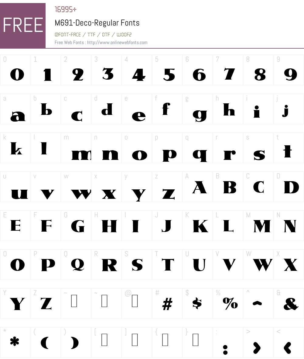 M691-Deco Font Screenshots
