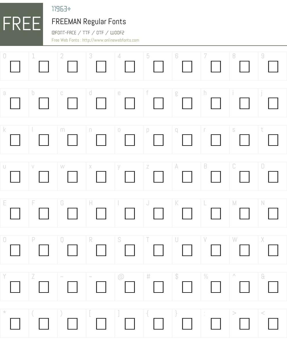 FREEMAN Font Screenshots