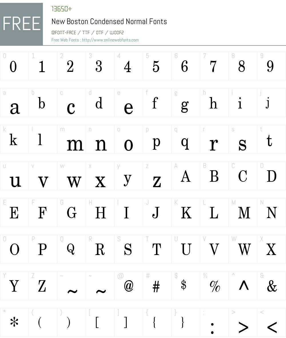 New Boston Condensed Font Screenshots