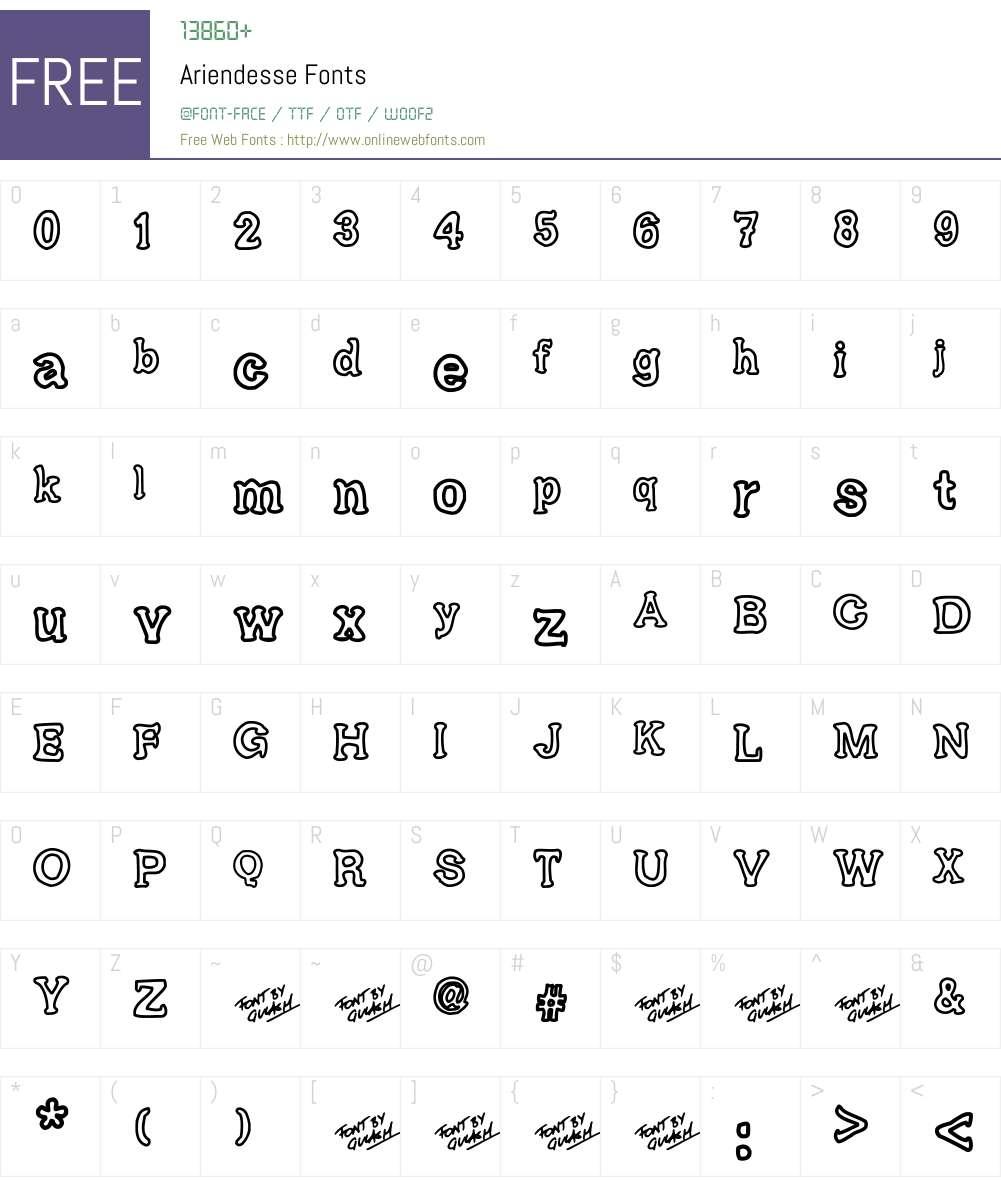 Ariendesse Font Screenshots
