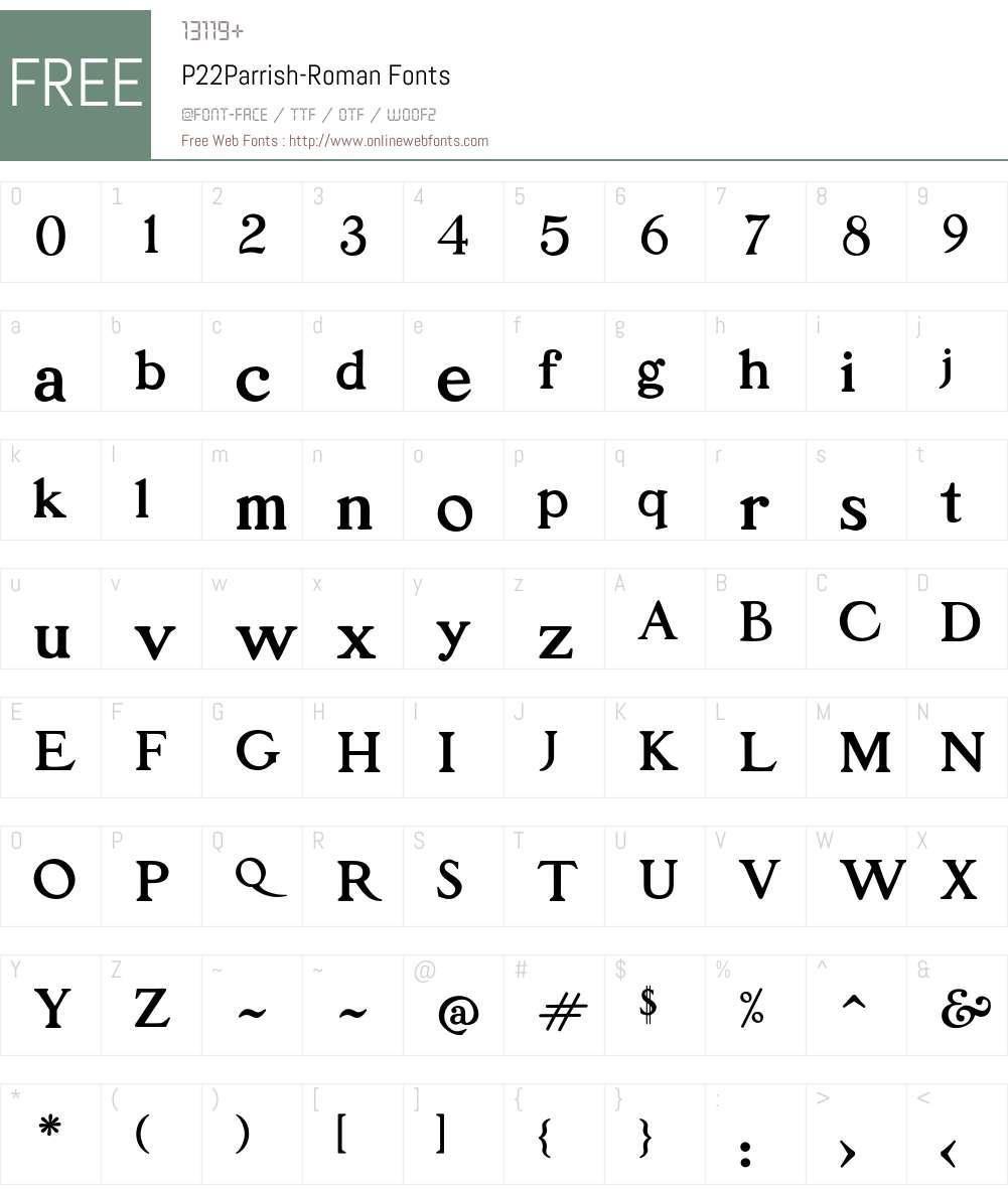 P22Parrish Font Screenshots