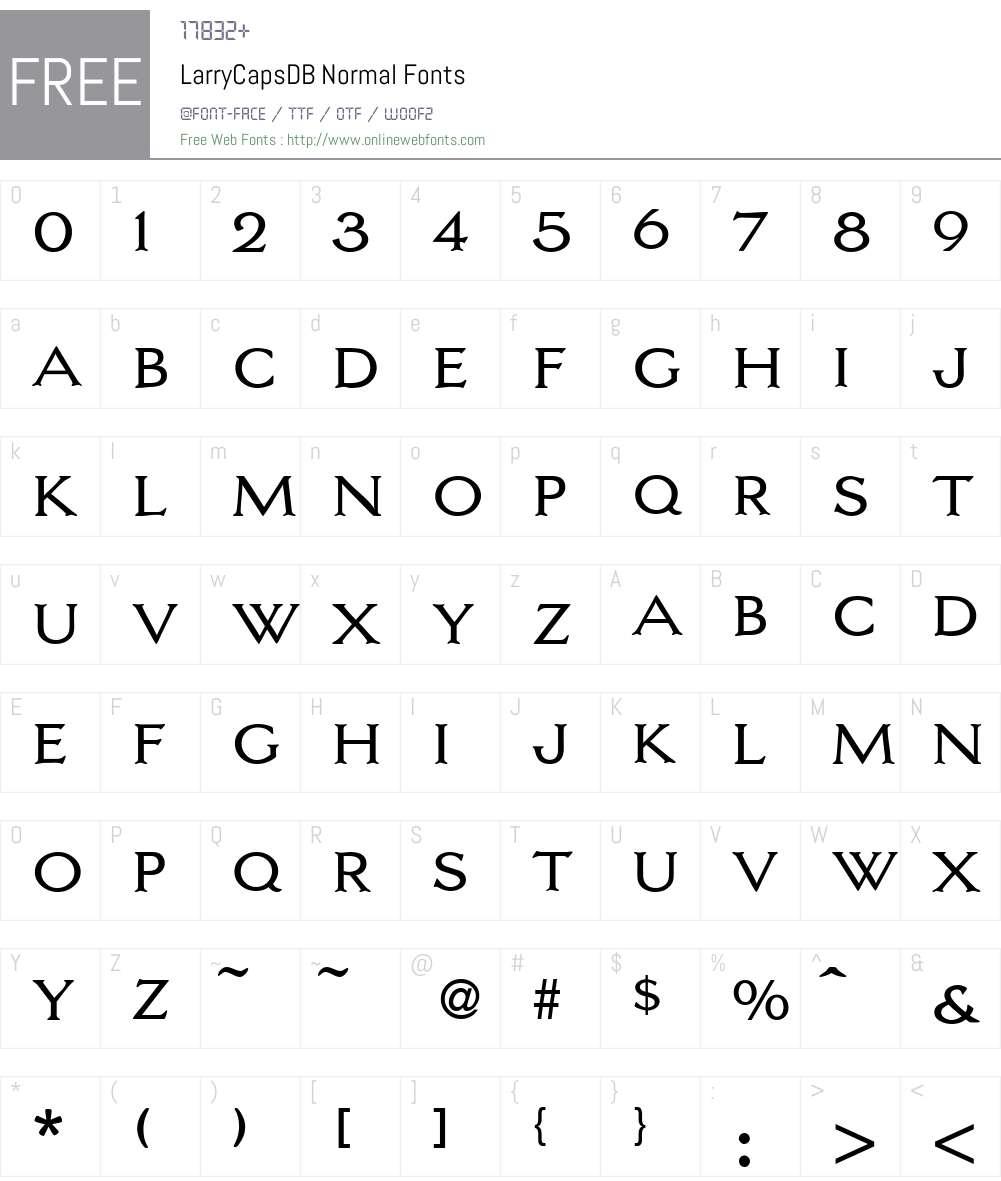 LarryCapsDB Font Screenshots