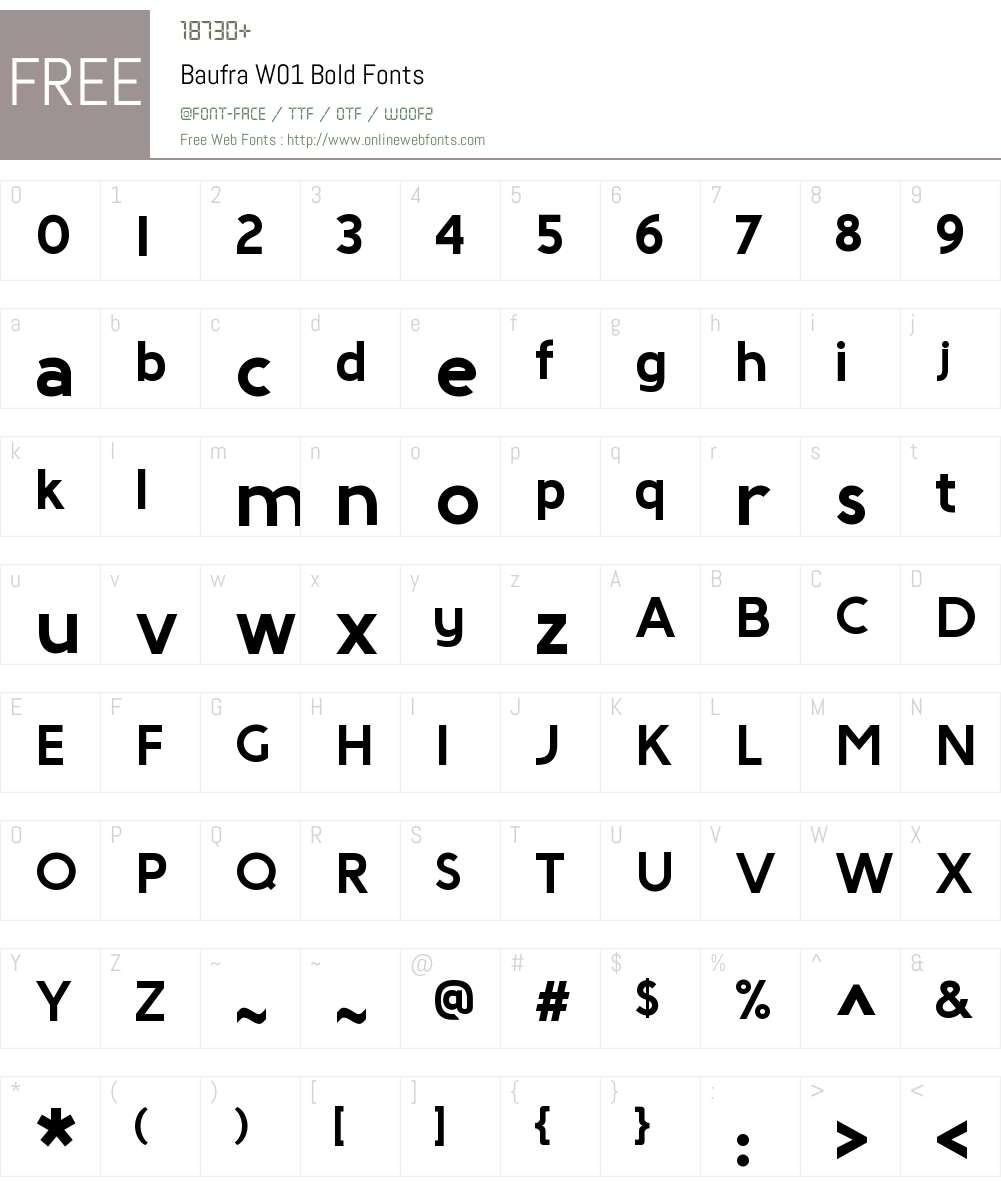 BaufraW01-Bold Font Screenshots