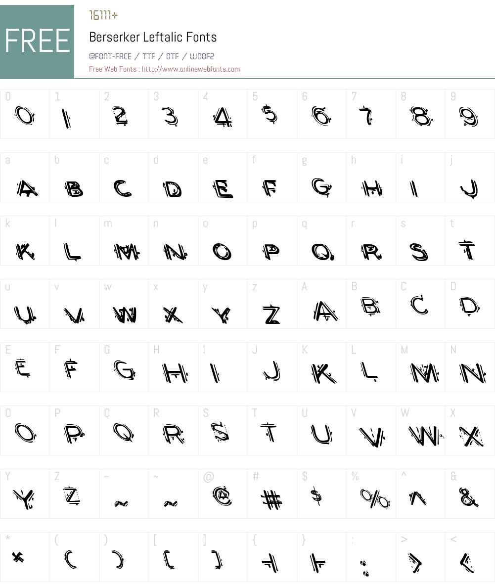 Berserker Leftalic Font Screenshots