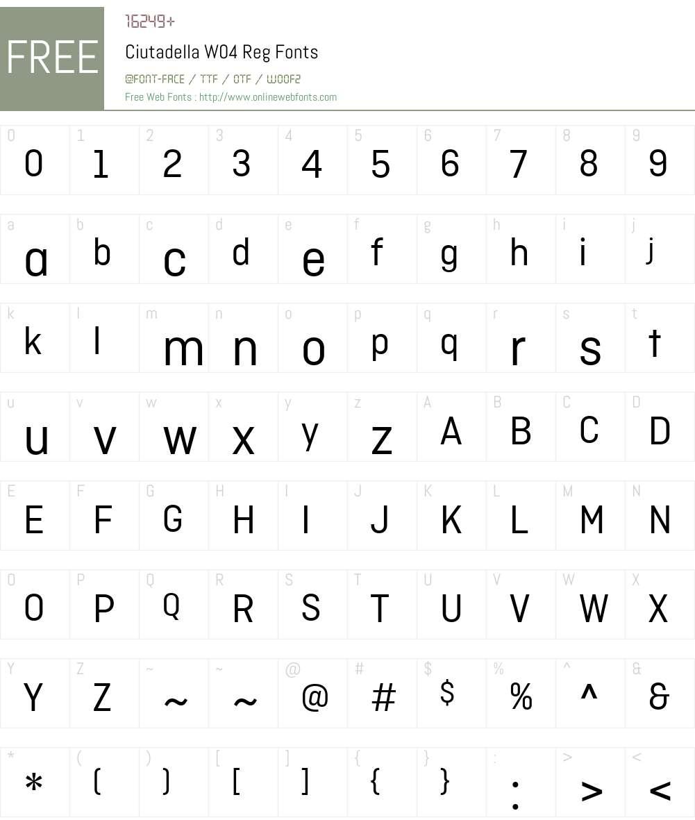 CiutadellaW04-Reg Font Screenshots