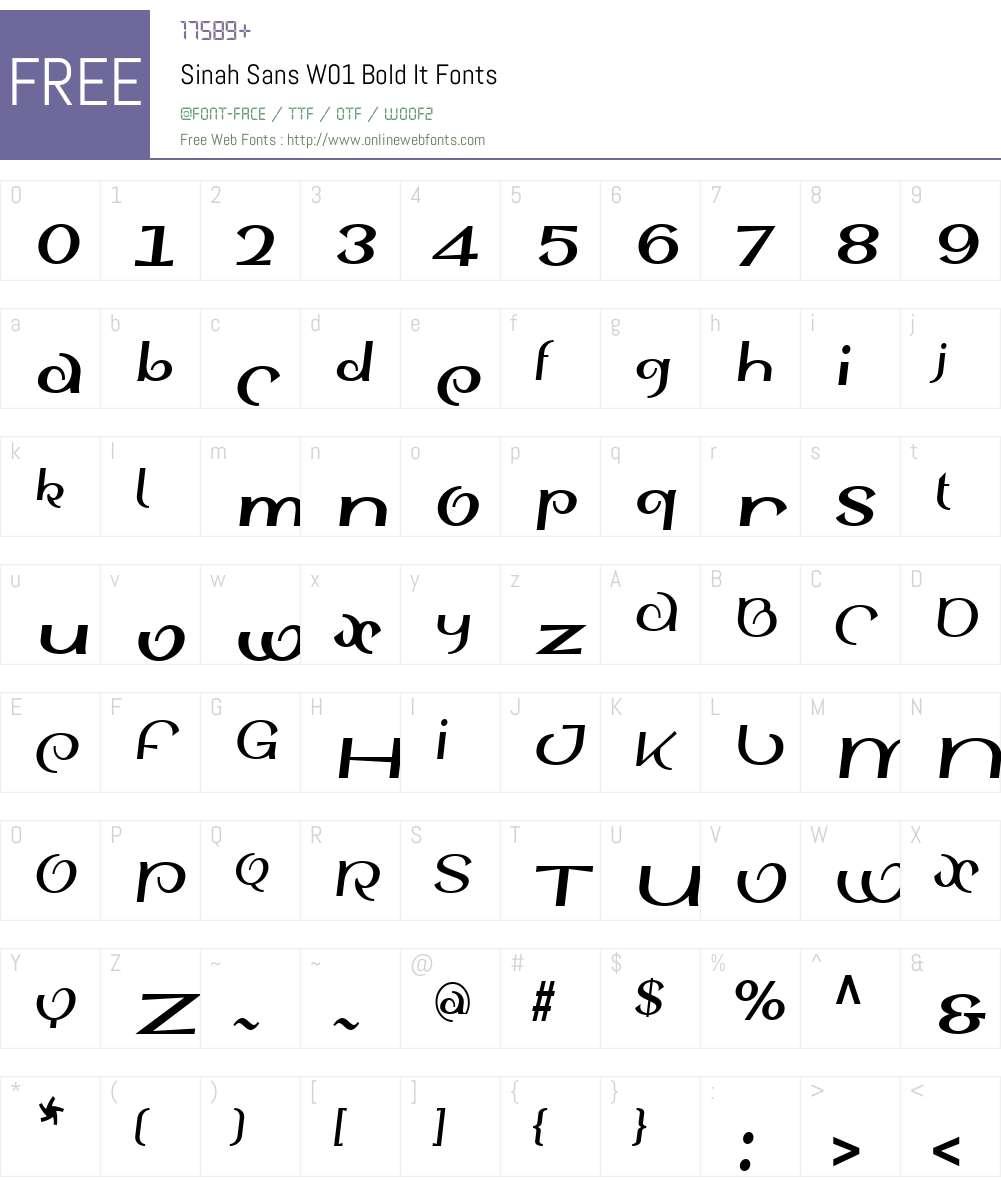 SinahSansW01-BoldIt Font Screenshots