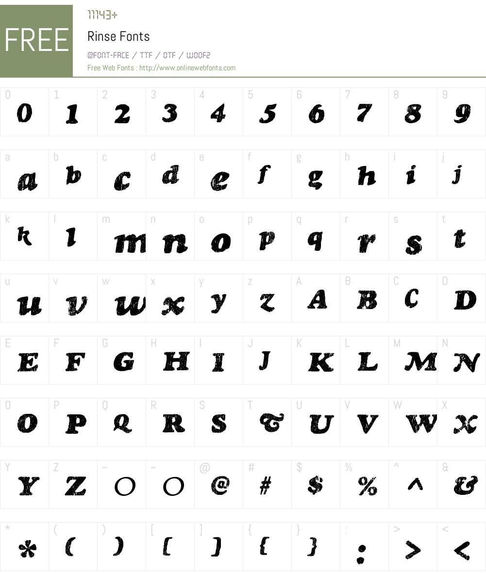 Rinse Font Screenshots