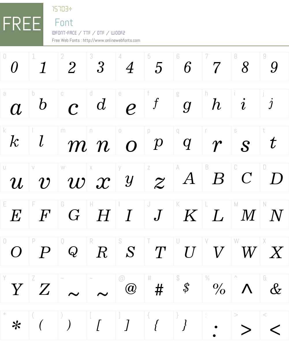 ExcelsiorW01-Italic Font Screenshots