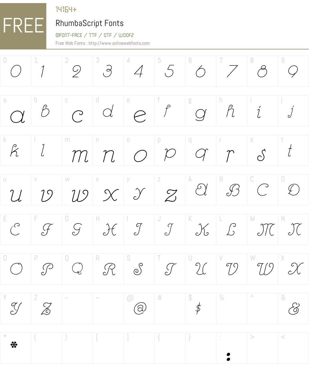 RhumbaScript Font Screenshots
