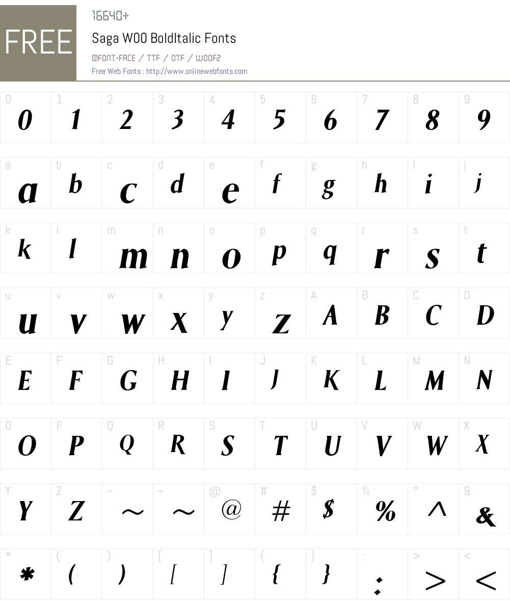 SagaW00-BoldItalic Font Screenshots