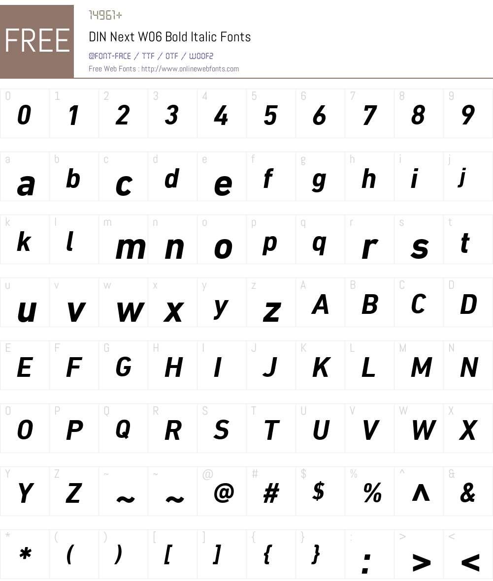 DINNextW06-BoldItalic Font Screenshots