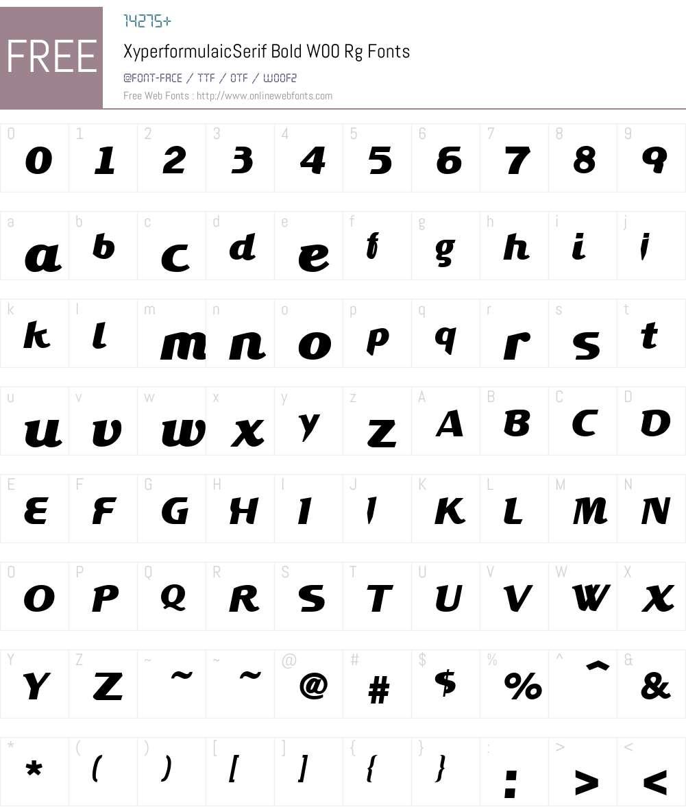 Xyperformulaic Serif Font Screenshots