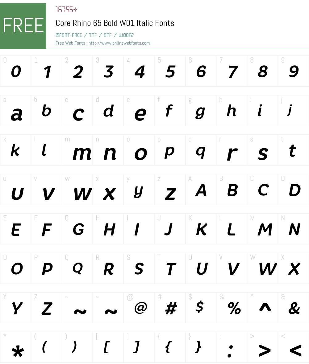 CoreRhino65BoldW01-Italic Font Screenshots