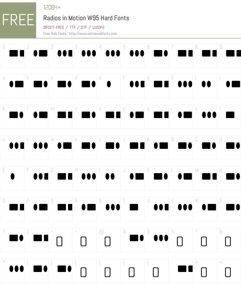 RadiosinMotionW95-Hard Font Screenshots