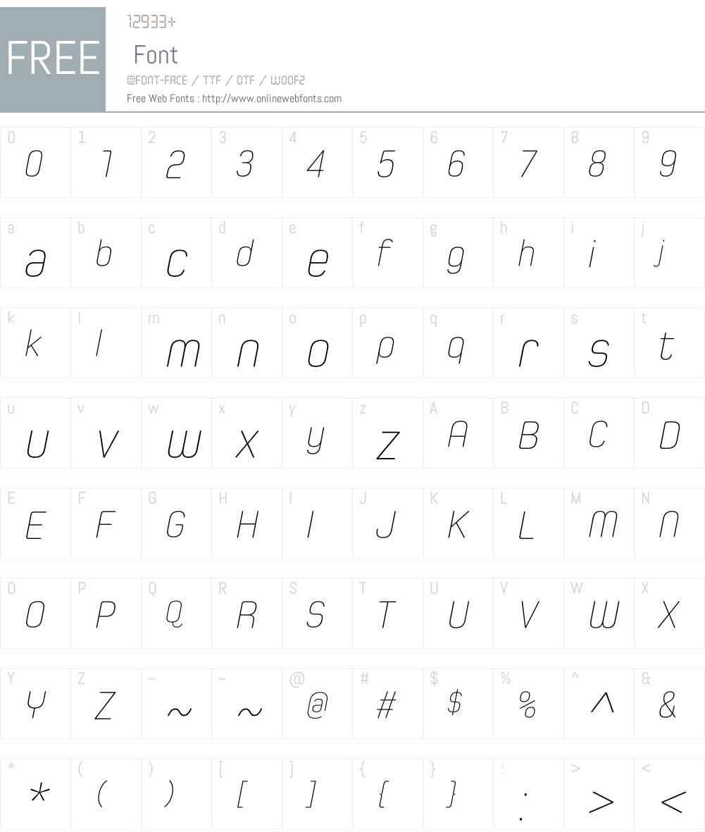 SpoonW01-UltraLightItalic Font Screenshots