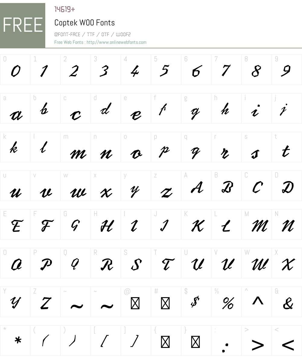 CoptekW00 Font Screenshots