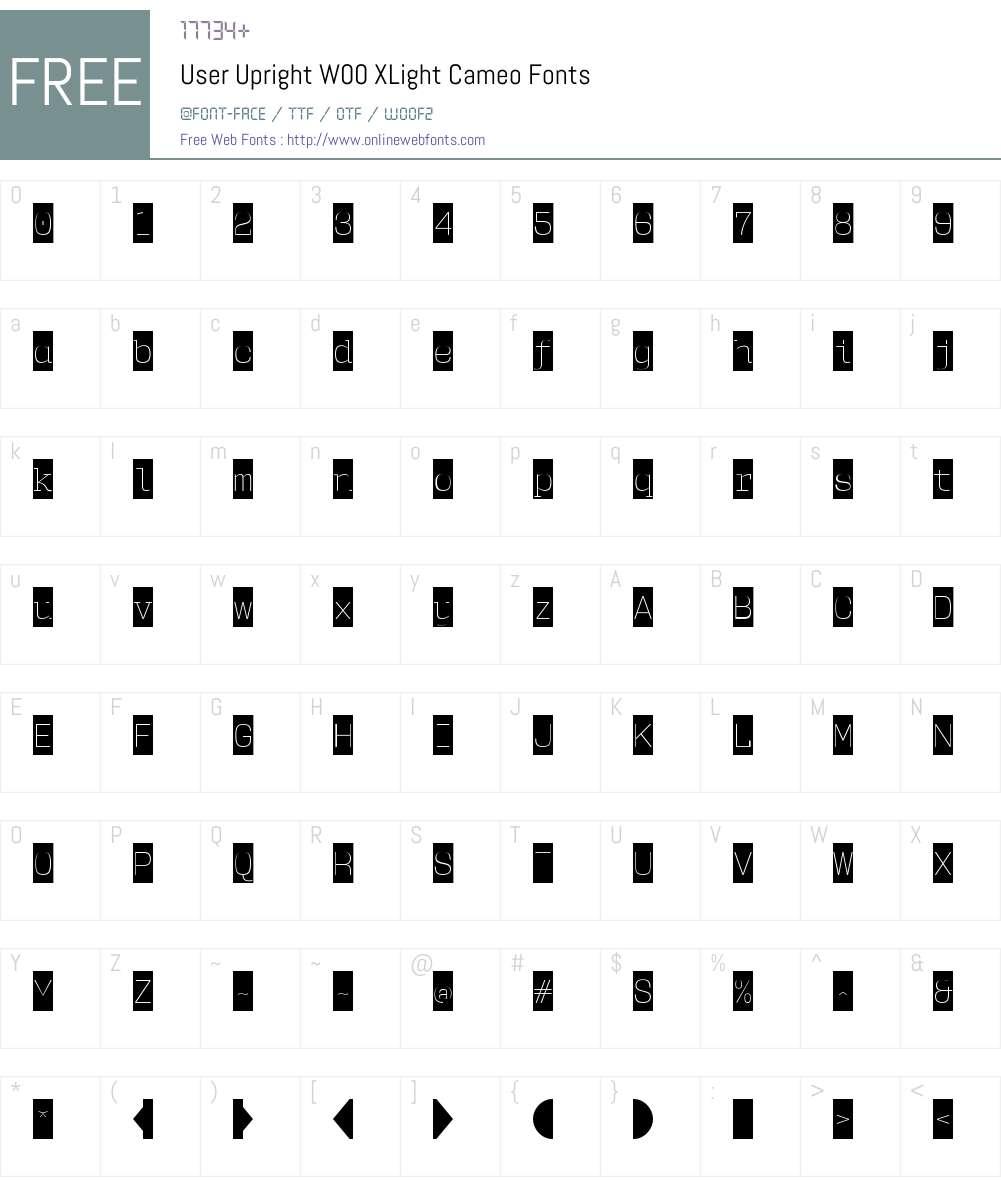 UserUprightW00-XLightCameo Font Screenshots