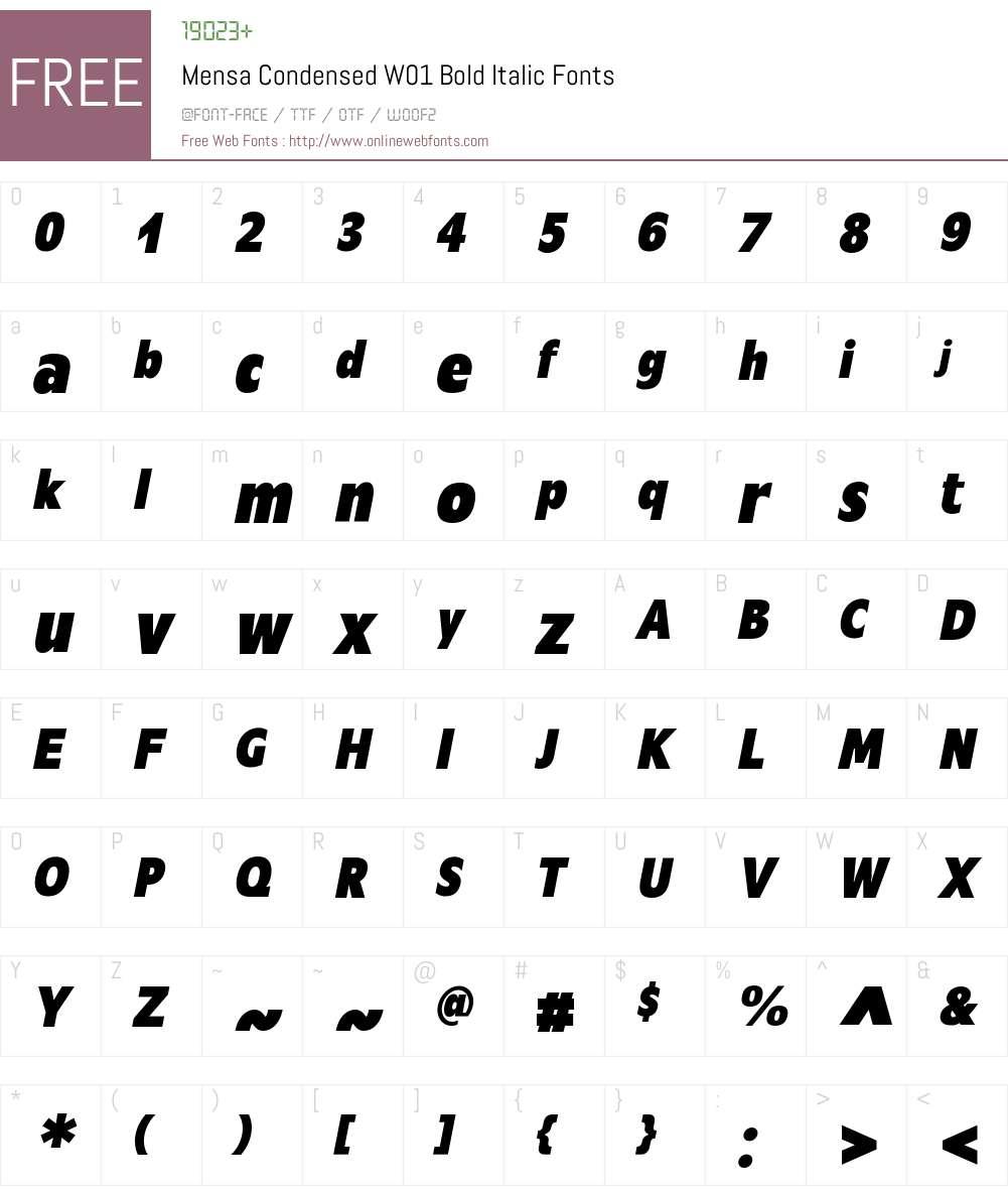 MensaCondensedW01-BoldIt Font Screenshots
