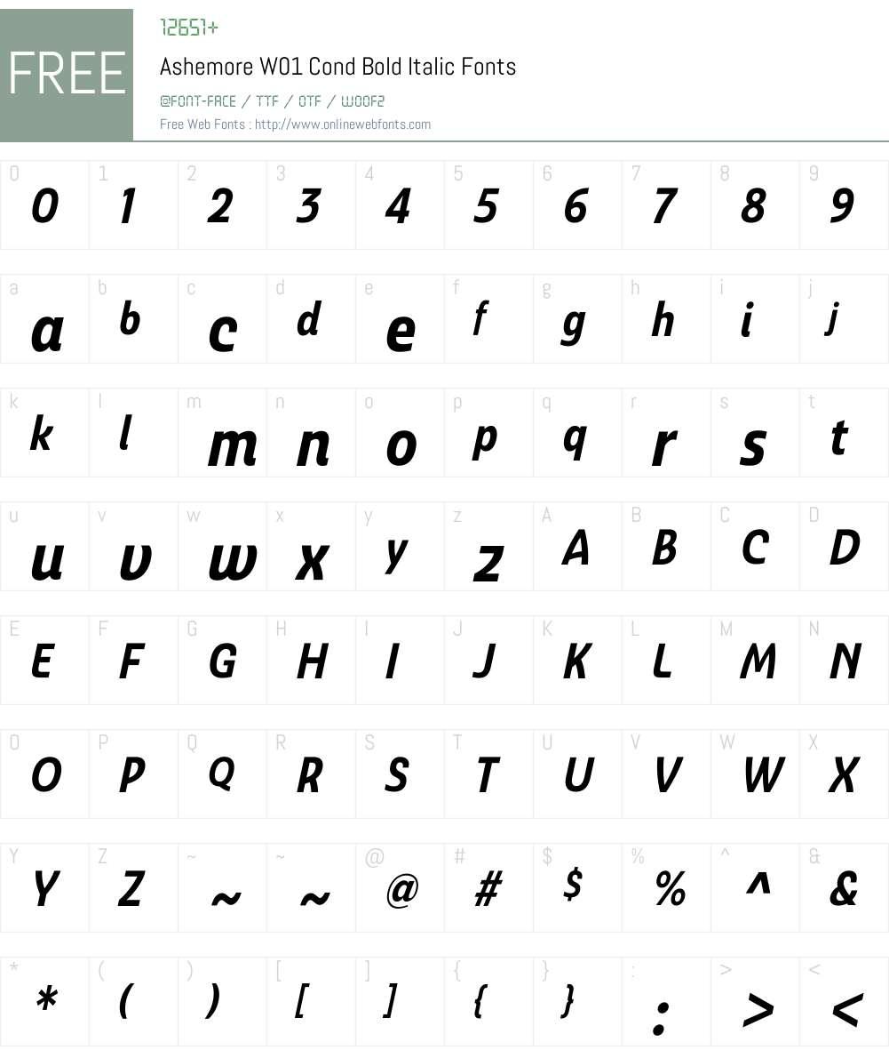 AshemoreW01-CondBoldItalic Font Screenshots