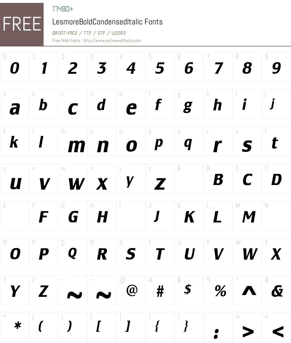 LesmoreBoldCondensedItalic Font Screenshots
