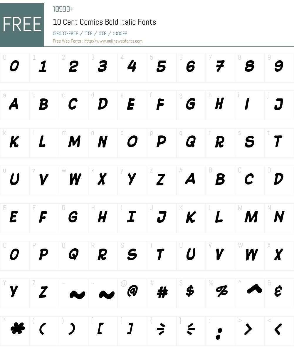 CentComics-BoldItalic Font Screenshots
