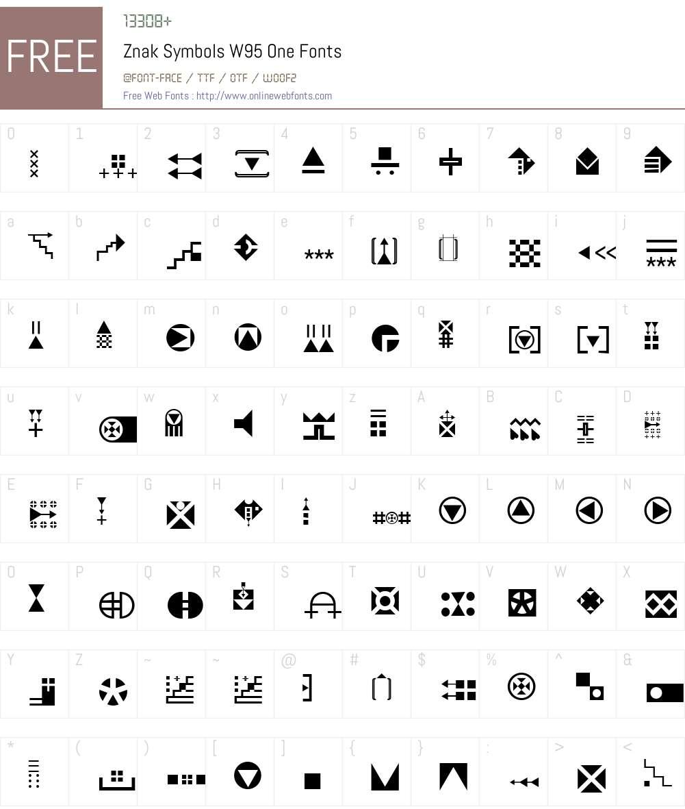 ZnakSymbolsW95-One Font Screenshots