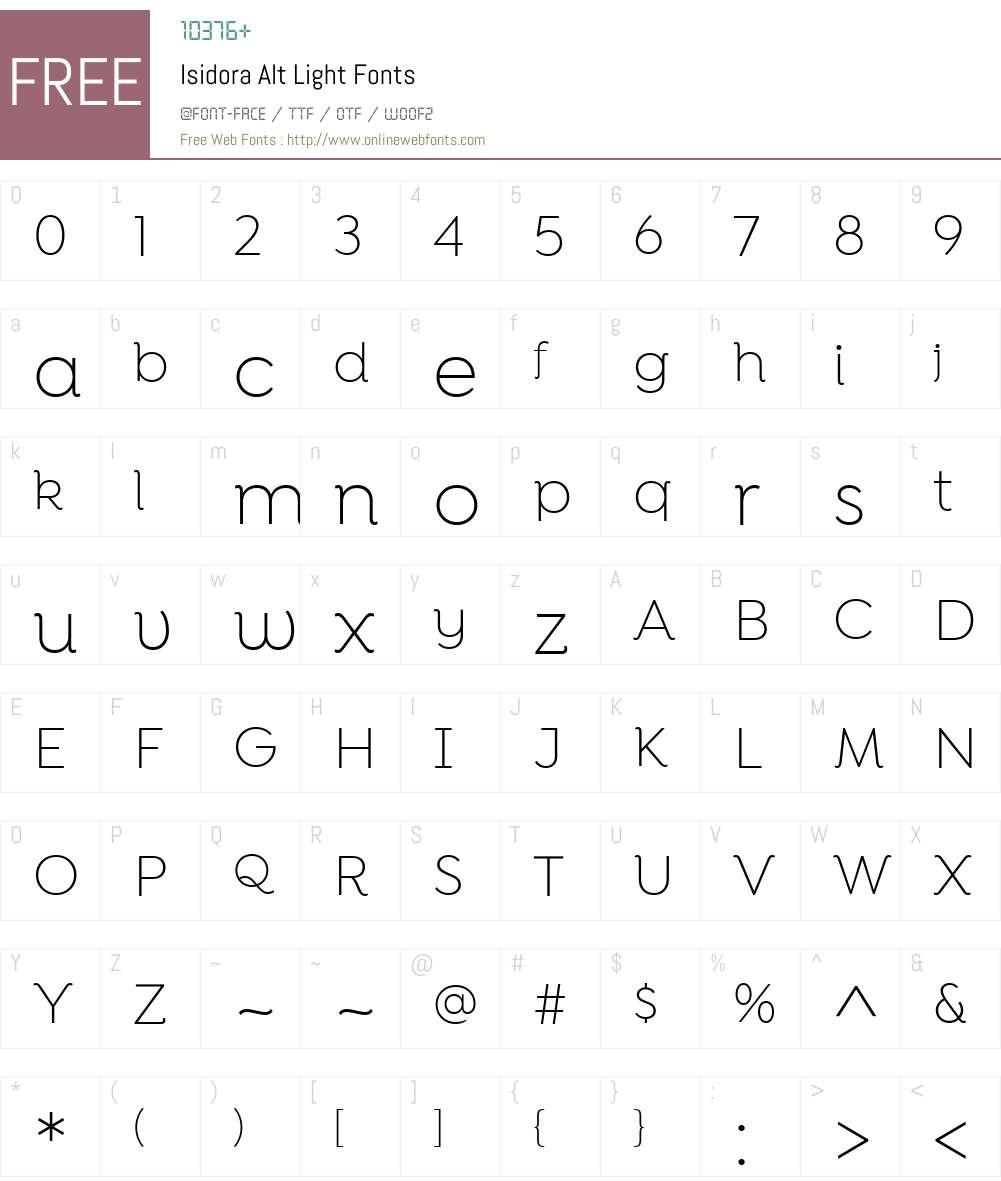 IsidoraAlt-Light Font Screenshots