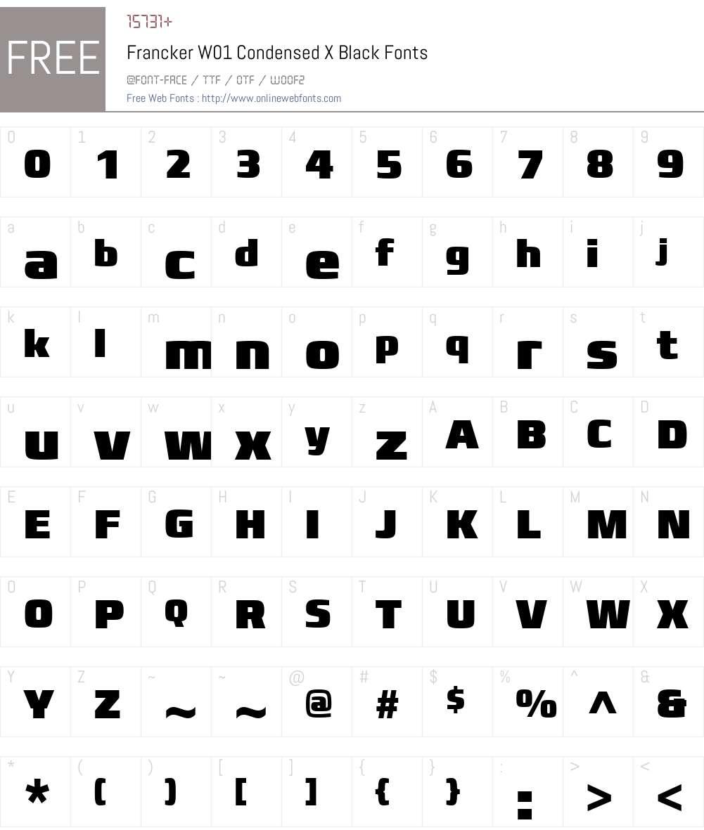FranckerW01-CondensedXBlack Font Screenshots