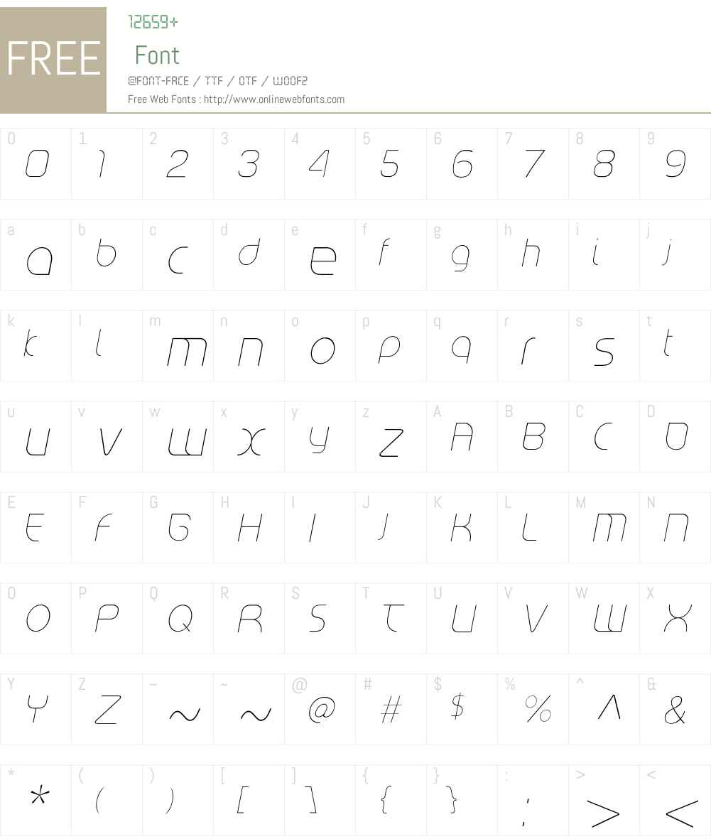 RiptCure UltraLight Oblique Font Screenshots