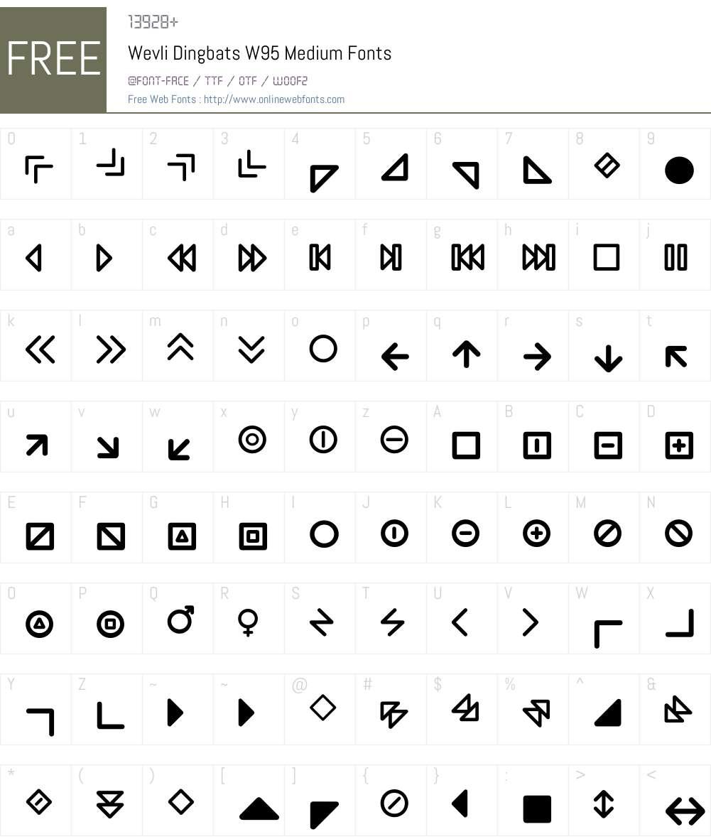 WevliDingbatsW95-Medium Font Screenshots