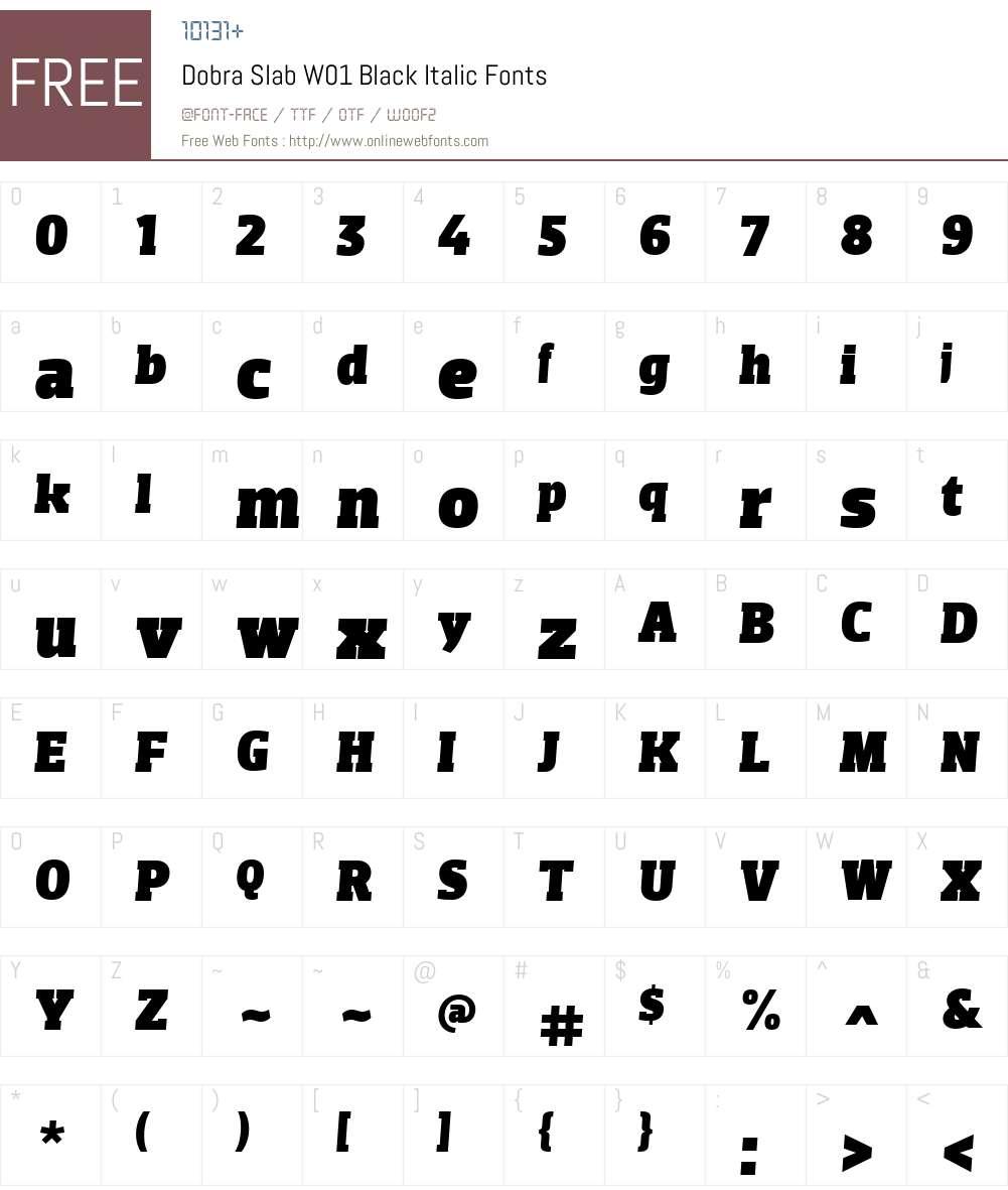 DobraSlabW01-BlackItalic Font Screenshots
