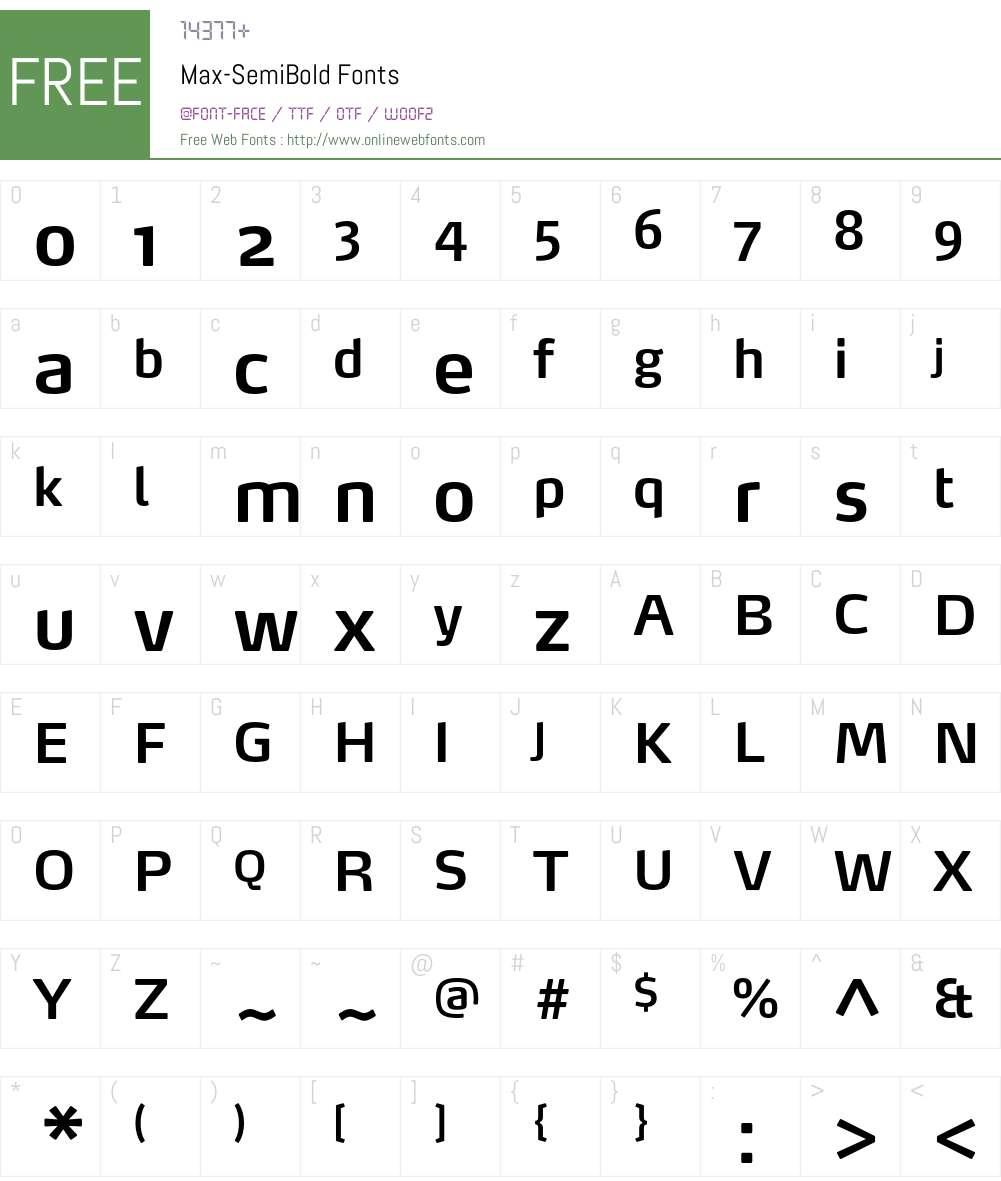 Max-SemiBold Font Screenshots