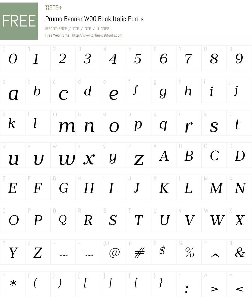 PrumoBannerW00-BookItalic Font Screenshots