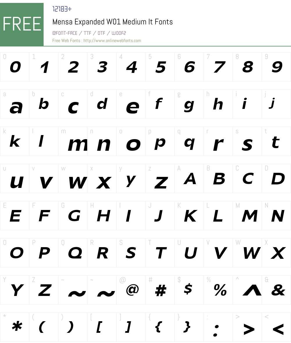 MensaExpandedW01-MediumIt Font Screenshots