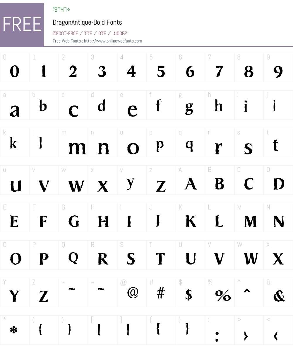 DragonAntique Font Screenshots