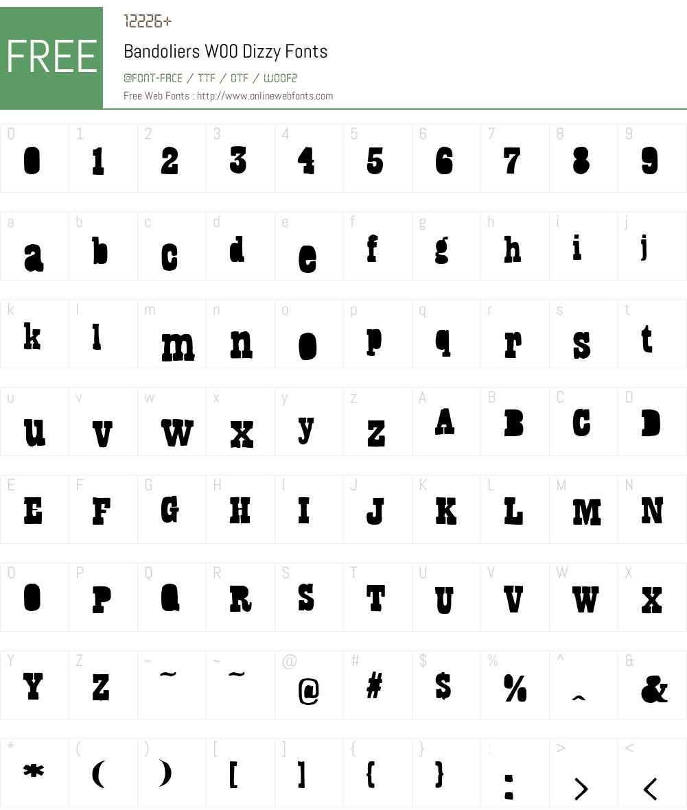 BandoliersW00-Dizzy Font Screenshots