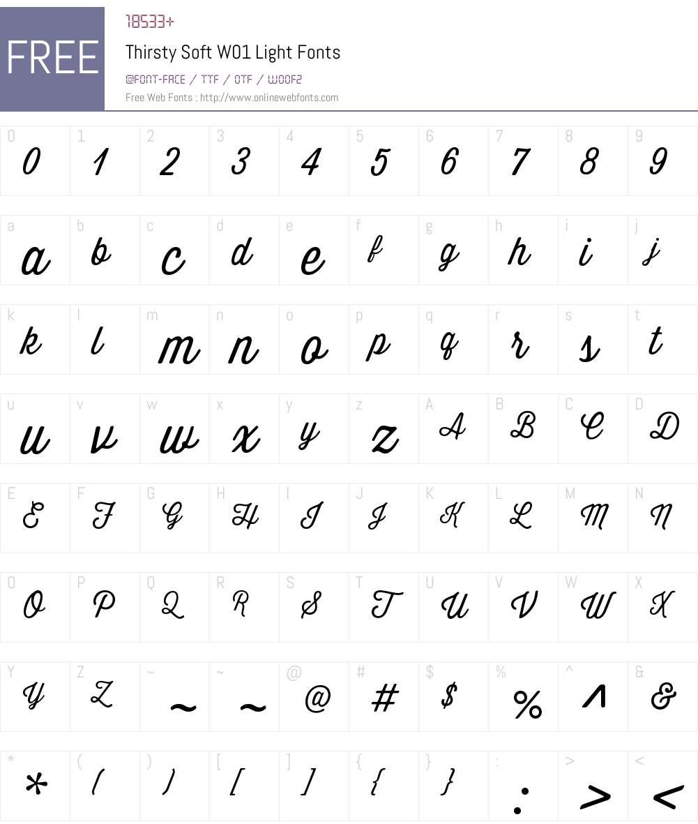 ThirstySoftW01-Light Font Screenshots