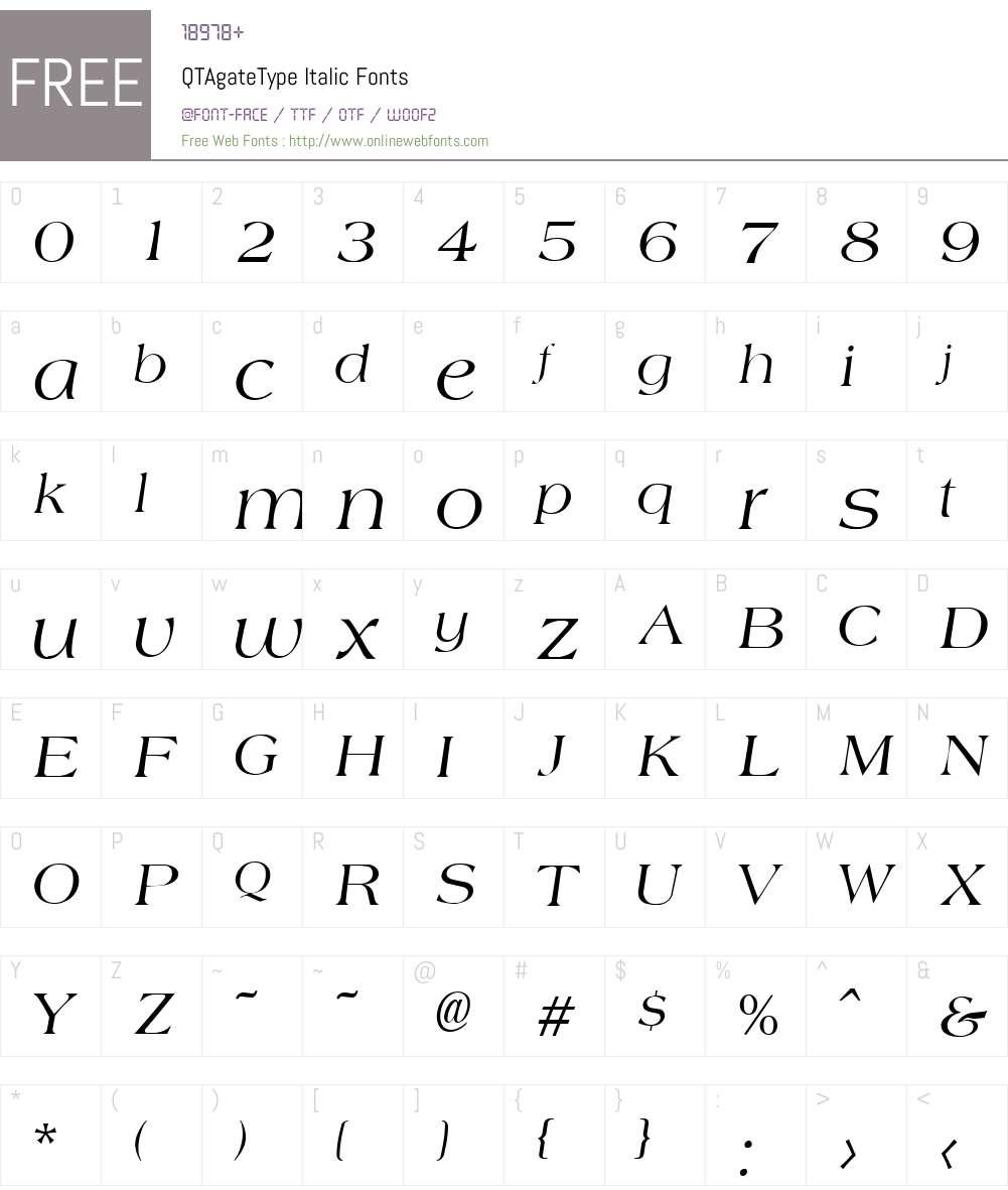 QTAgateType Font Screenshots