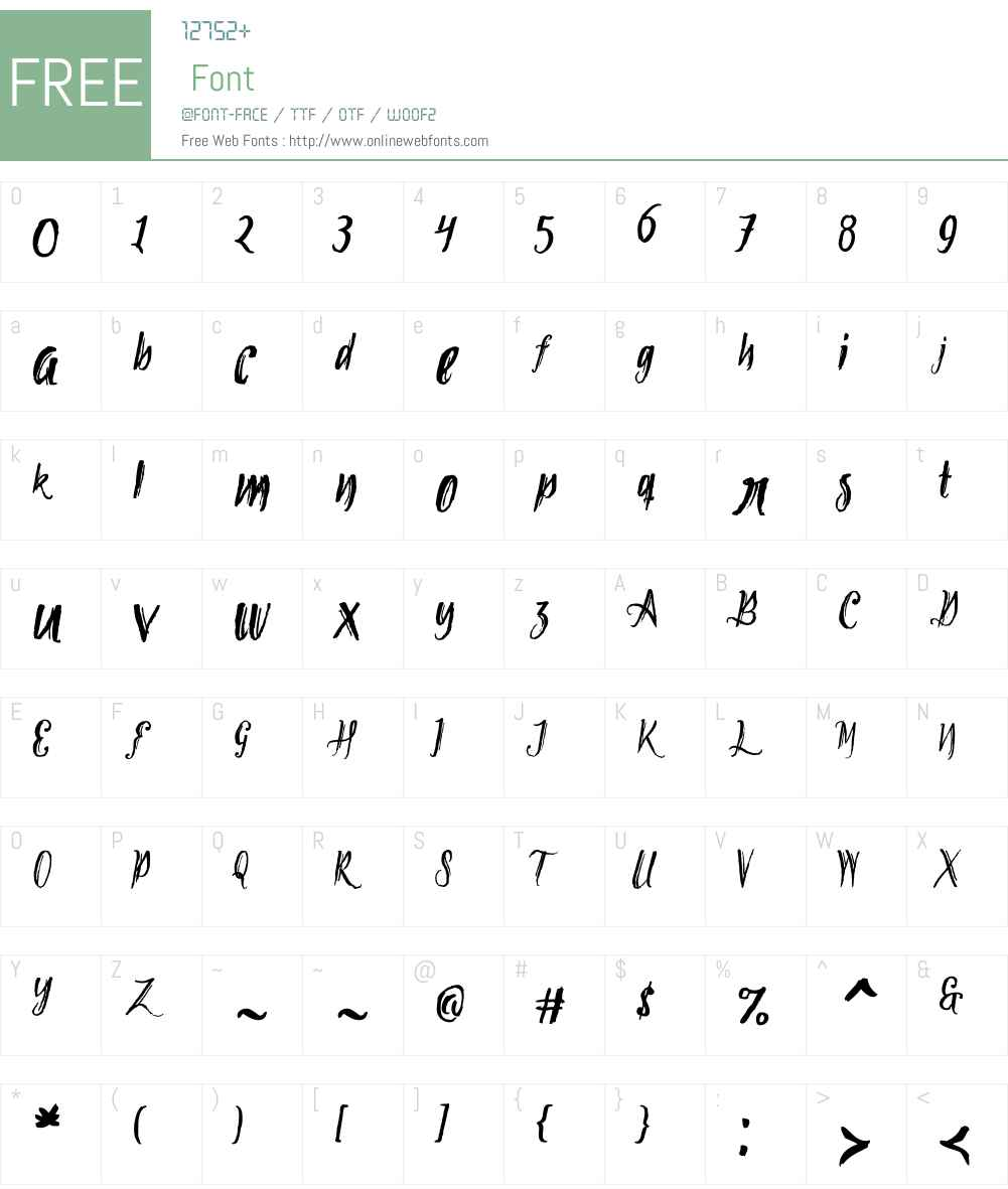 TipbrushScriptW01-2 Font Screenshots